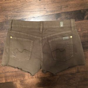 7 For All Mankind Forest Green Jean Shorts